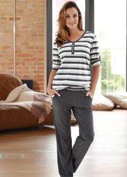 Пижама (светло-серый меланж в полоску) Bonprix