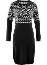 Вязаное платье (цвет белой шерсти/черный с узо) Bonprix
