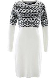 Вязаное платье (черный/цвет белой шерсти с узо) Bonprix