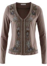 Трикотажная куртка с вышивкой бисером (антрацитовый меланж) Bonprix