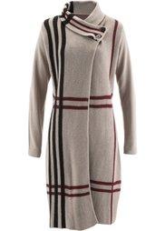 Вязаное пальто (антрацитовый/красный в клетку) Bonprix