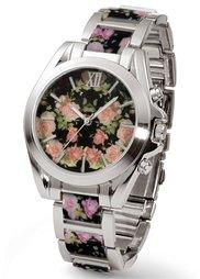 Металлические часы с цветочным мотивом (белый/розово-золотистый) Bonprix