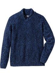 Пуловер Regular Fit с шалевым воротом (темно-зеленый меланж) Bonprix