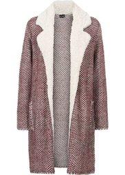 Вязаное пальто с флисовым воротником (темно-синий с узором) Bonprix