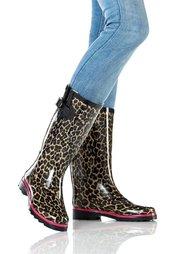 Резиновые сапоги (черный леопардовый) Bonprix