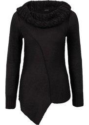 Асимметричный вязаный пуловер (серый меланж) Bonprix