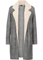 Вязаное пальто с флисовым воротником (темно-красный с узором) Bonprix