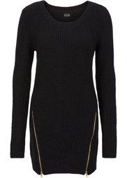 Удлиненный пуловер с молниями (нежно-розовый) Bonprix