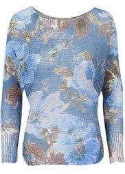 Вязаный пуловер с рисунком (белый/синий в цветочек) Bonprix