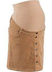 Мода для беременных: вельветовая юбка до колена (черный) Bonprix