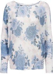Вязаный пуловер с рисунком (темно-синий/нежно-голубой в цв) Bonprix
