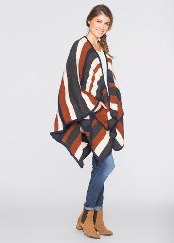 Вязаное пончо с карманами (серый/разные цвета)