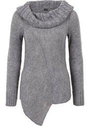 Асимметричный вязаный пуловер (черный) Bonprix