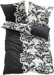 Постельное белье Теа, линон (черный/белый) Bonprix
