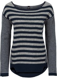 Пуловер стильного полосатого дизайна (черный/меланж цвета белой шерс) Bonprix