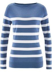 Пуловер с вырезом-лодочка и длинным рукавом (зеленый/белый в полоску) Bonprix