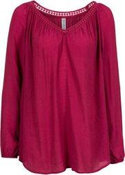 Блузка с красивой окантовкой (черный) Bonprix