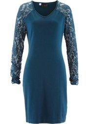 Трикотажное платье с отделкой кружевом (черный) Bonprix