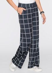Трикотажные брюки с широкими брючинами (черный/кремовый в клетку) Bonprix