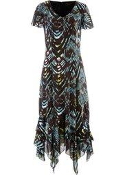 Шифоновое платье с рисунком (красно-ягодный/черный с рисунк) Bonprix