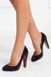 Замшевые туфли с кожей змеи Louloupump 100 Christian Louboutin