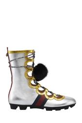 Ботинки из металлизированной кожи Gucci