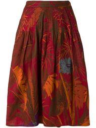 А-образная юбка с лиственным принтом Krizia Vintage