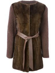 пальто с контрастным передом и поясом Liska