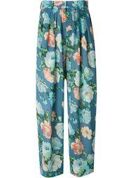 прозрачные брюки в принт  Kenzo Vintage