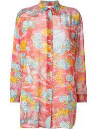 прозрачная рубашка с цветочным принтом   Kenzo Vintage