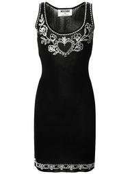 приталенное платье с вышивкой Moschino Vintage