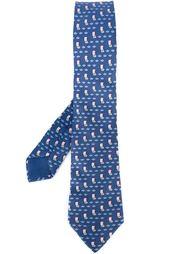 галстук с узором в парусники Hermès Vintage
