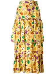 многослойная юбка в цветочный принт  Yves Saint Laurent Vintage