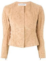 куртка с узором без воротника  Christian Dior Vintage