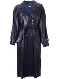 кожаное пальто с поясом Céline Vintage