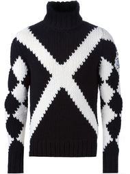 свитер с монохромным узором  аргайл  Moncler Gamme Bleu