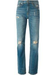 джинсы с рваными деталями   R13