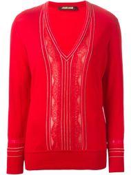 свитер с V-образным вырезом и кружевными вставками Roberto Cavalli
