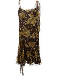асимметричное платье в цветочный принт   Christian Dior Vintage