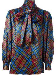 блузка с контрастным рисунком Yves Saint Laurent Vintage