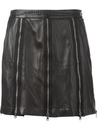 кожаная юбка с молниями  Moschino Vintage