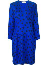 платье в горошек с V-образным вырезом Yves Saint Laurent Vintage