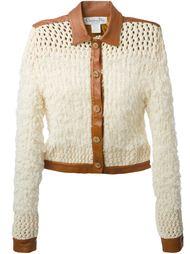 вязаная куртка с кожаной отделкой  Christian Dior Vintage