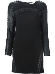 облегающее платье с кожаными рукавами Pierre Balmain