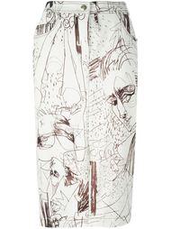 джинсовая юбка с принтом John Galliano Vintage