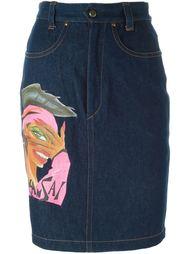 джинсовая юбка с графическим принтом Kansai Yamamoto Vintage