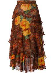 многоярусная юбка с цветочным принтом пейсли Kenzo Vintage
