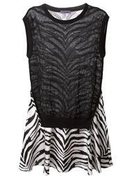 расклешенное платье с зебровым узором  Emanuel Ungaro