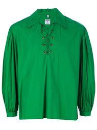 рубашка с шнуровкой на груди Moschino Vintage