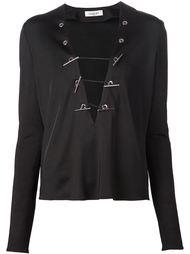 блузка с глубоким V-образным вырезом Mugler